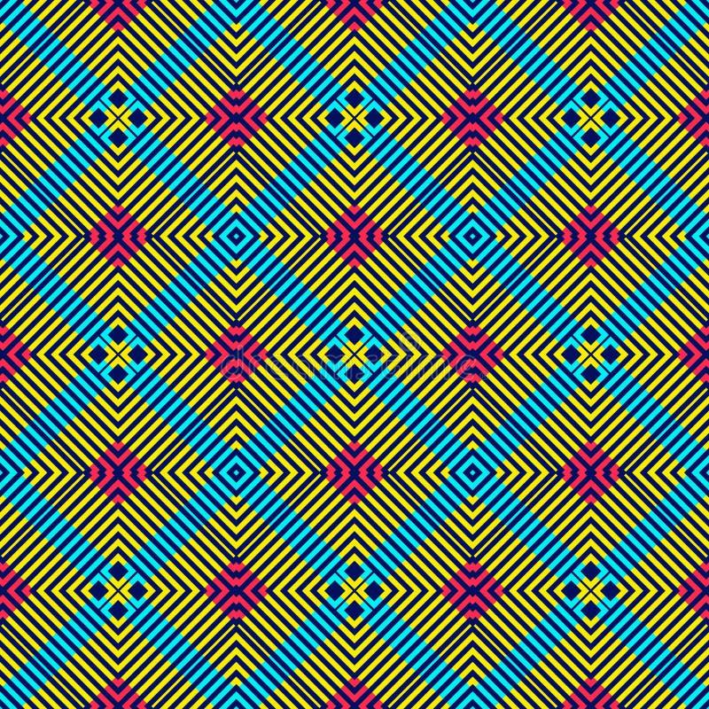 Modèle sans couture de couleur vive symétrique illustration stock