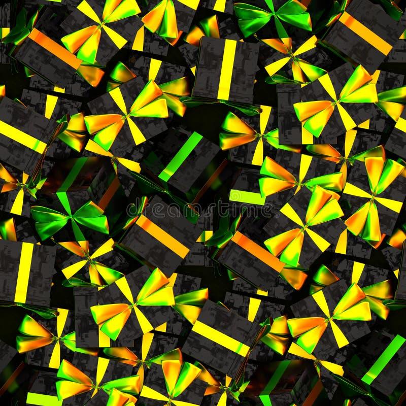 Modèle sans couture de couleurs colorées de boîte-cadeau, de jaune, vertes et oranges illustration stock