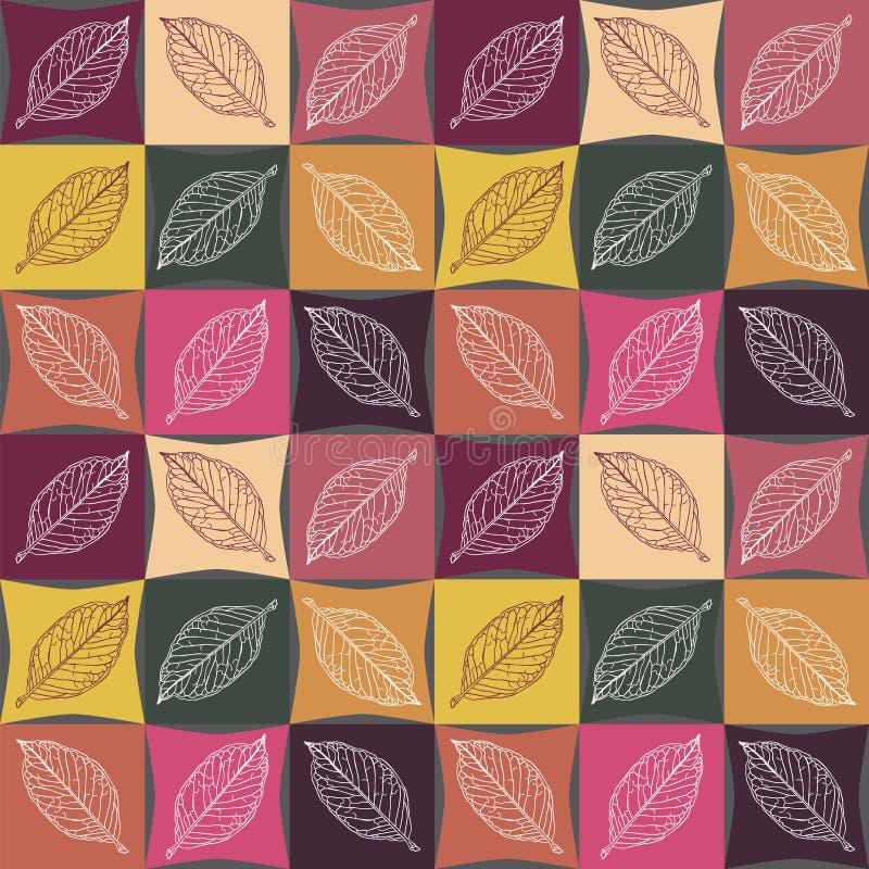 Modèle sans couture de couleurs d'automne, veines sur les feuilles illustration stock