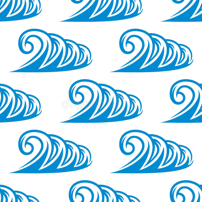 Modèle sans couture de courber les ressacs bleus illustration stock