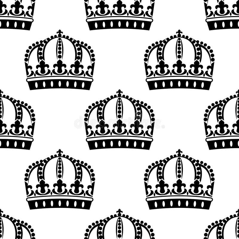 Modèle sans couture de couronnes royales médiévales illustration de vecteur