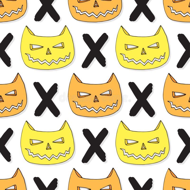 Modèle sans couture de crâne de chats Dirigez le fond de Veille de la toussaint Textile de hippie ou papier d'emballage illustration stock