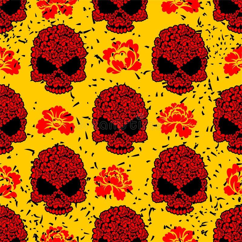 Modèle sans couture de crâne de fleur dans le style grunge illustration stock