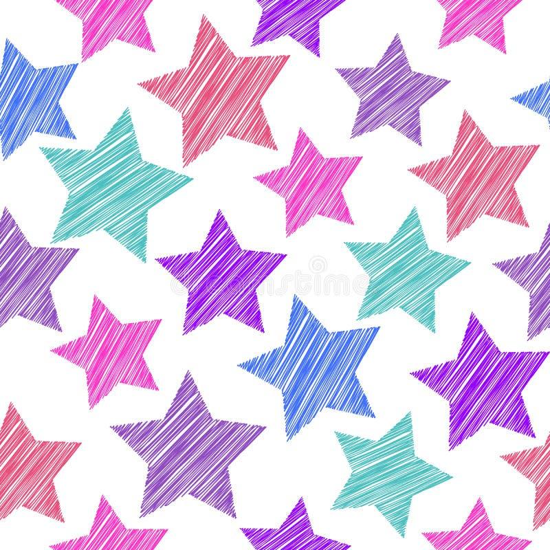 Modèle sans couture de croquis avec des étoiles Étoiles bleues lilas roses rouges dessus illustration stock