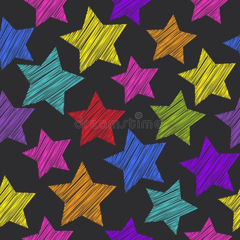 Modèle sans couture de croquis avec des étoiles Lilas rose orange vert rouge illustration de vecteur