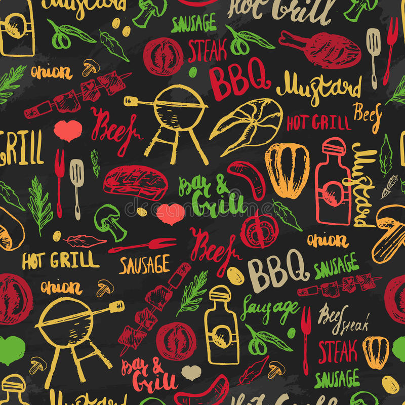 Modèle sans couture de croquis de gril de barbecue de BBQ Conception colorée de BBQ pour s'envelopper, bannières, promotion illustration de vecteur