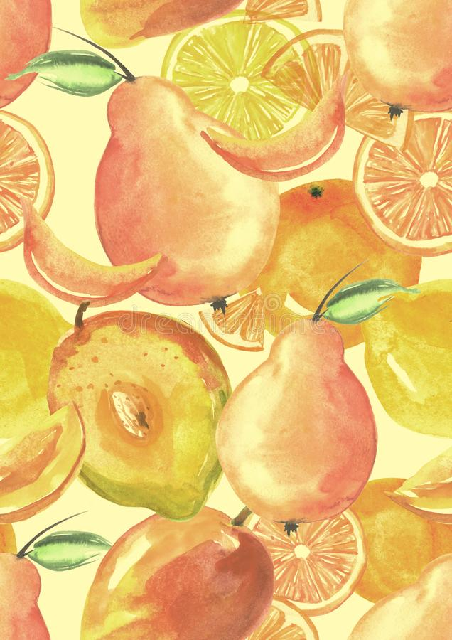 Modèle sans couture de cru avec des aquarelles - de fruit tropical, jet d'agrume, citron, orange, chaux, poire, fruit de mangue illustration stock