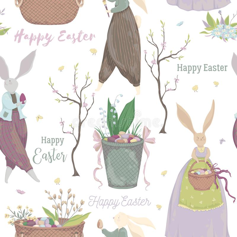 Modèle sans couture de cru avec des caractères de lapin et des éléments de conception pour les vacances de Pâques Lapin de Pâques illustration libre de droits