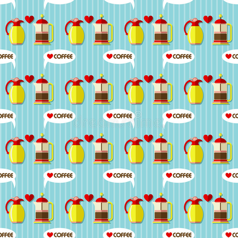 Download Modèle Sans Couture De Cruche De Fabricant De Café Et De Café Illustration de Vecteur - Illustration du noir, kitchenware: 56491048