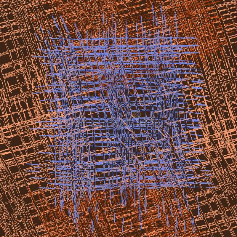 Modèle sans couture de culpabilité barrée et à carreaux de grunge rugueux dans le brun, bleu illustration libre de droits