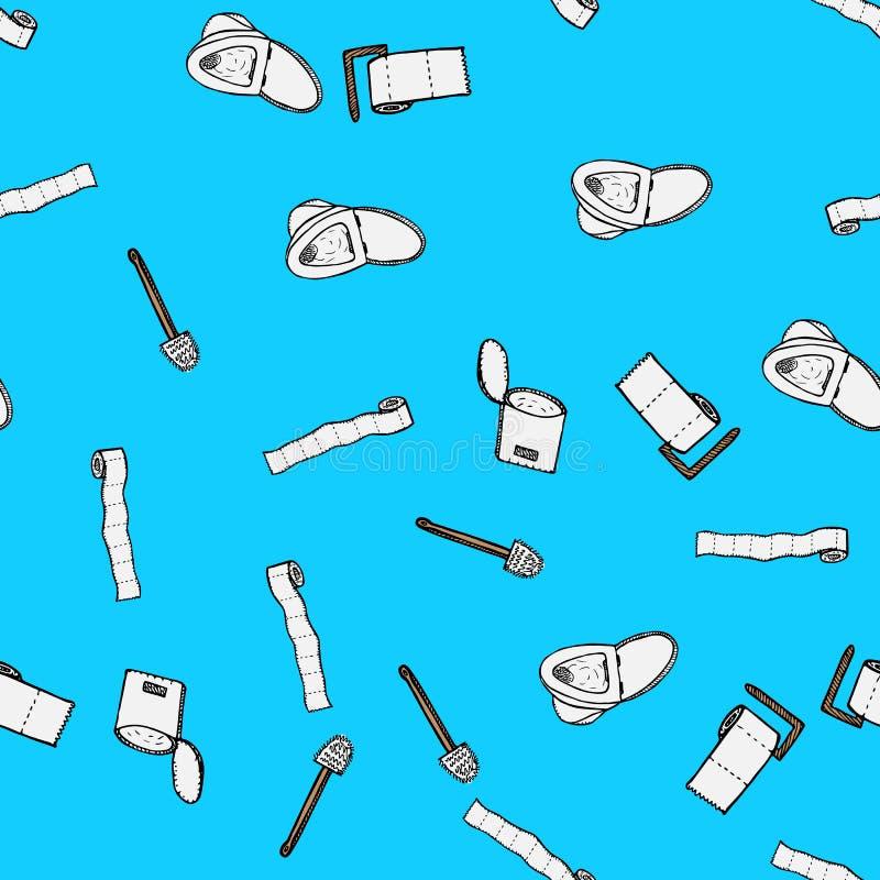 Modèle sans couture de cuvette de toilettes, de plugner, de papier hygiénique, de seau et d'icônes de brosse de toilette d'isolem illustration stock