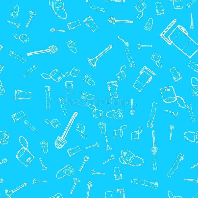 Modèle sans couture de cuvette de toilettes, de plugner, de papier hygiénique, de seau et d'icônes de brosse de toilette d'isolem photo libre de droits