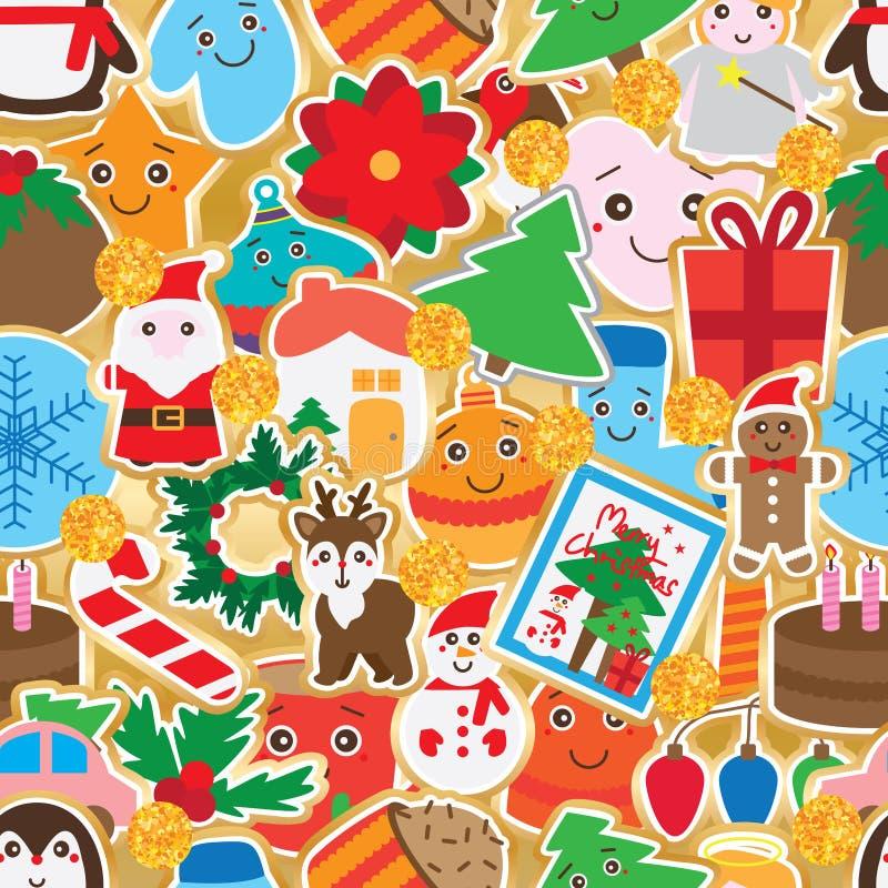 Modèle sans couture de décor de giltter d'or d'autocollant de jour de Noël illustration stock
