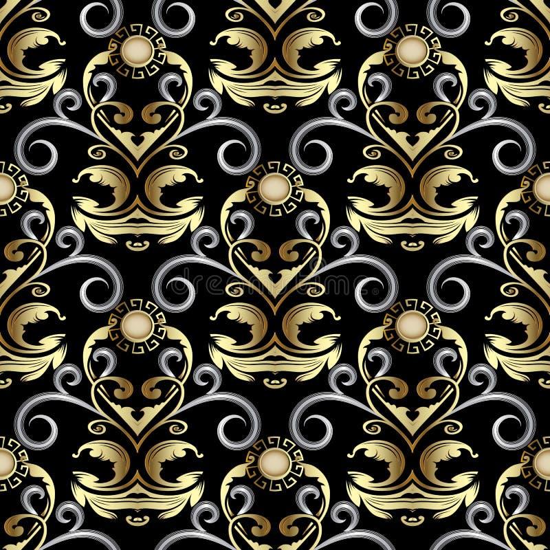 Modèle sans couture de damassé baroque fleurie d'or Floral riche de vecteur illustration stock