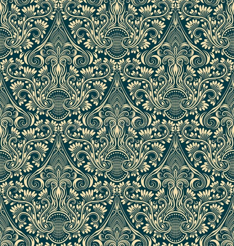 Modèle sans couture de damassé répétant le fond Ornement floral vert en ivoire dans le style baroque illustration stock