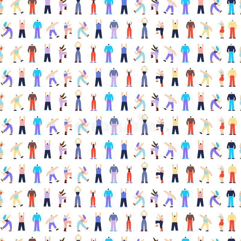 Modèle sans couture de danse de caractères de personnes de disco illustration libre de droits