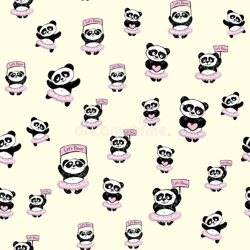 Modèle sans couture de danseur classique mignon de Panda Girl illustration de vecteur