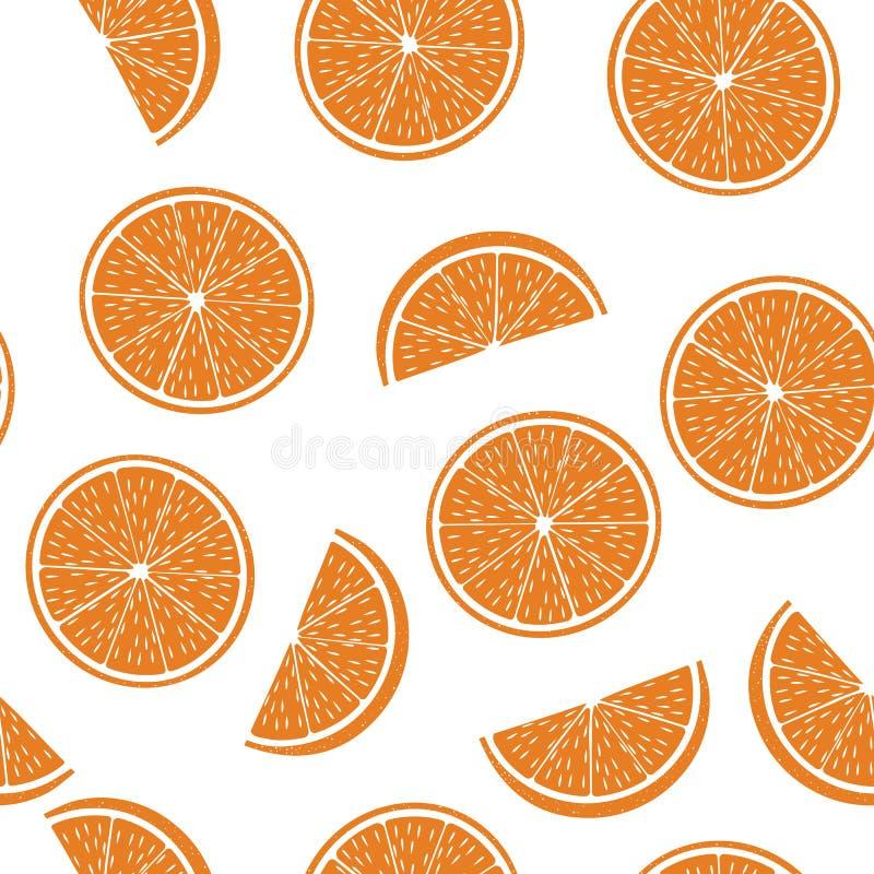 Modèle sans couture de demi oranges coupées illustration de vecteur
