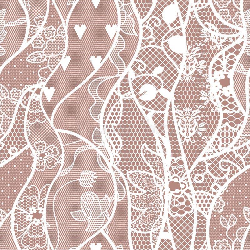 Modèle sans couture de dentelle avec des fleurs illustration stock
