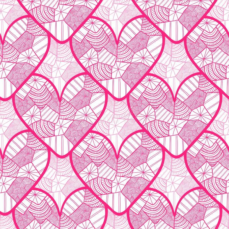 Modèle sans couture de dentelle avec les coeurs ornementaux Donnez une consistance rugueuse pour le papier d'emballage de jour de illustration stock