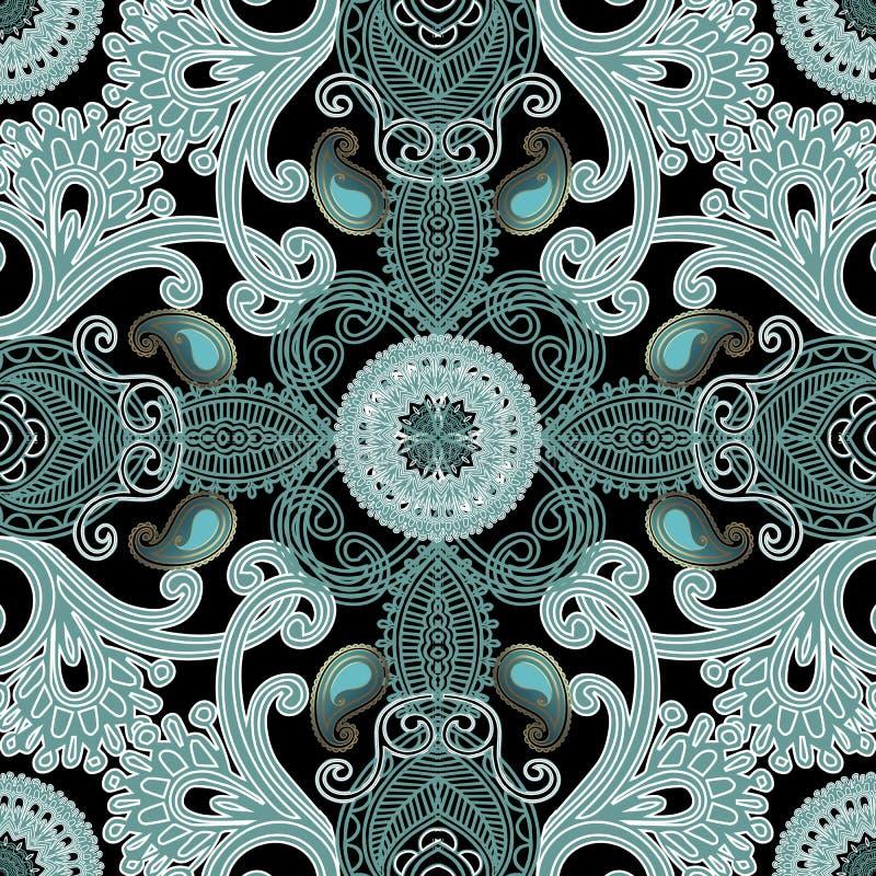 Modèle sans couture de dentelle de broderie de vecteur texturisé ethnique de Paisley Fond ornemental de vintage Ornement grunge f illustration libre de droits