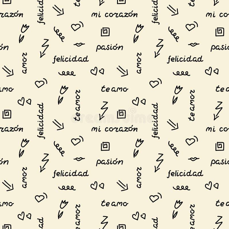 Modèle sans couture de dessin de main de griffonnage Mots, expressions de l'amour dans l'Espagnol, coeurs, flèches, fleurs, gribo illustration stock