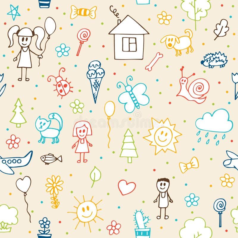 Modèle sans couture de dessins tirés par la main d'enfants Enfants d de griffonnage illustration stock