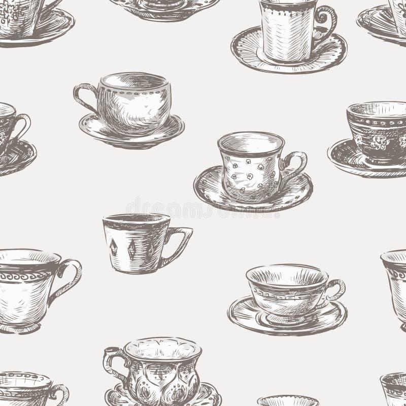 Modèle sans couture de différentes tasses de thé illustration libre de droits