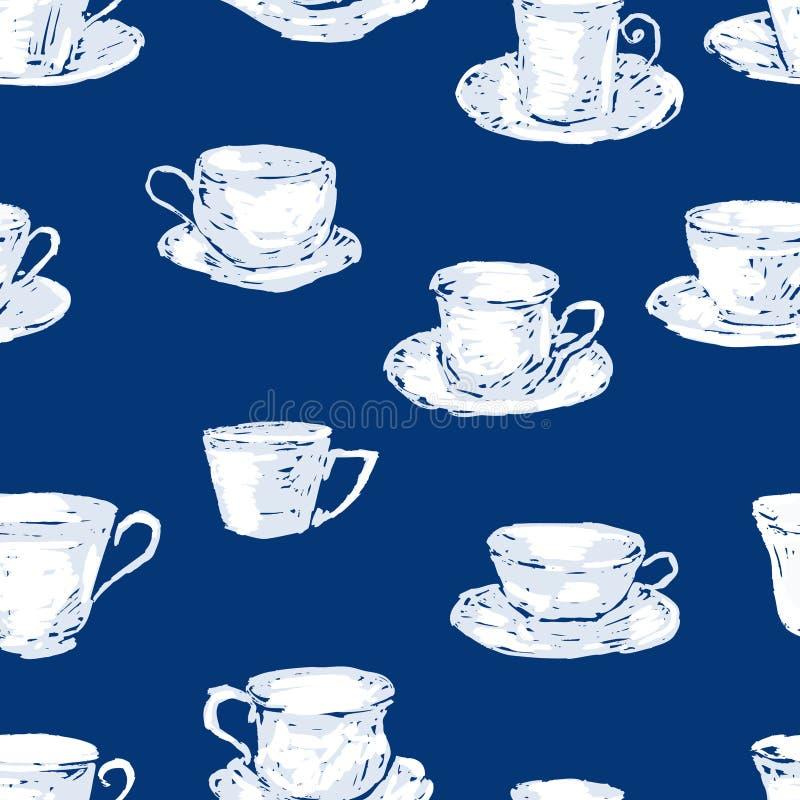 Modèle sans couture de différentes tasses de thé illustration stock