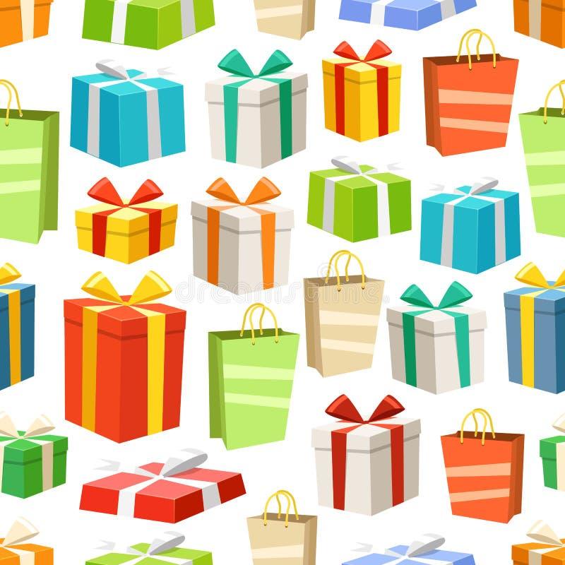 Modèle sans couture de différents boîte-cadeau de couleur illustration libre de droits