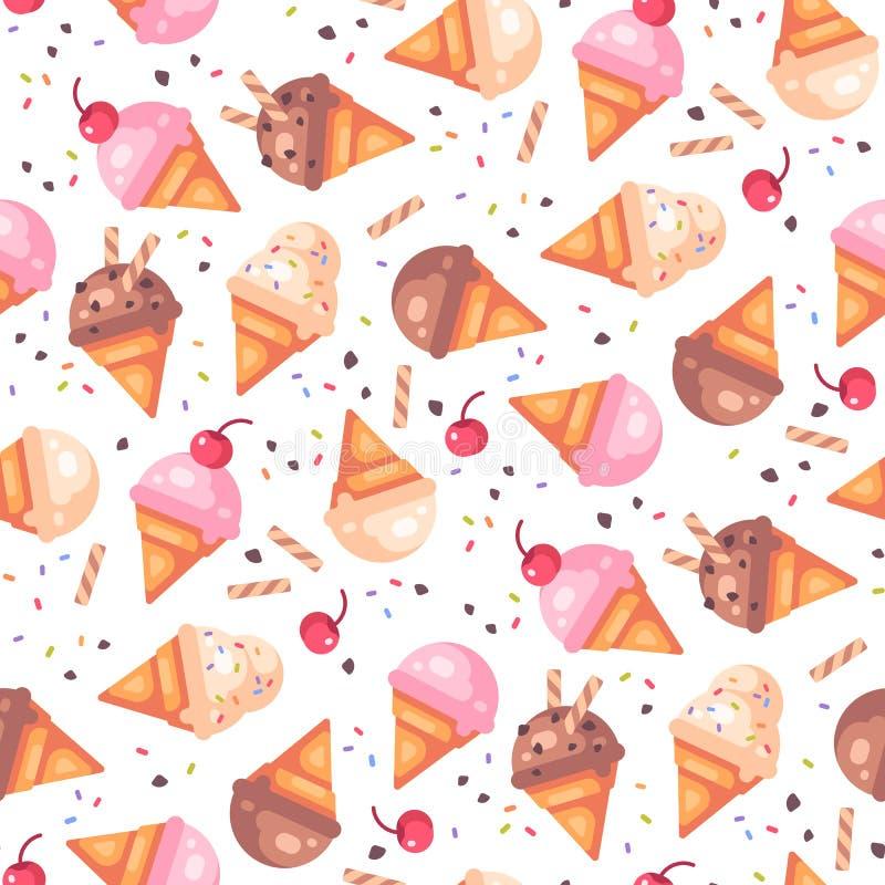 Modèle sans couture de divers cornets de crème glacée illustration de vecteur