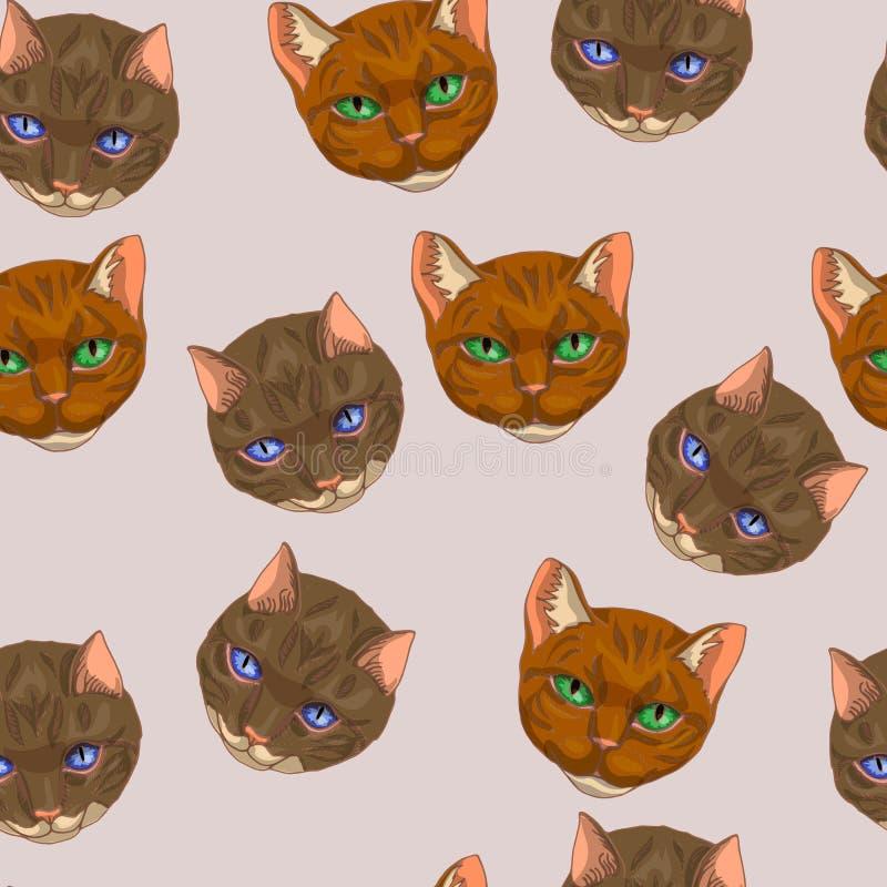 Modèle sans couture de diverse illustration de chats de griffonnage de vecteur dans des couleurs rousses, brunes et roses illustration libre de droits