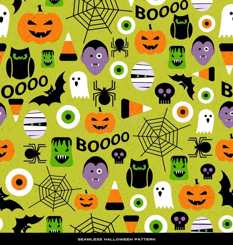 Modèle sans couture de diverses icônes mignonnes de Halloween illustration stock