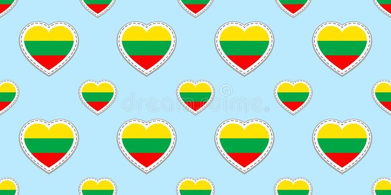 Modèle sans couture de drapeau lithuanien La Lithuanie marque des stikers Vecteur Symboles de coeurs d'amour Cours de langues, pa illustration libre de droits