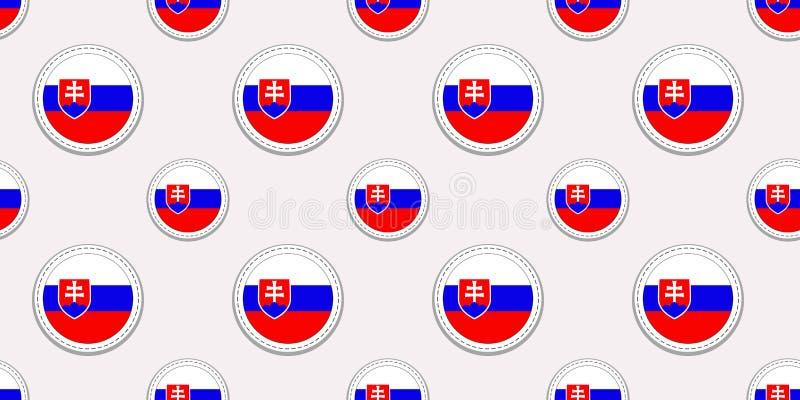 Modèle sans couture de drapeau de rond de la Slovaquie Fond slovaque Icônes de cercle de vecteur Symboles géométriques Texture po illustration libre de droits
