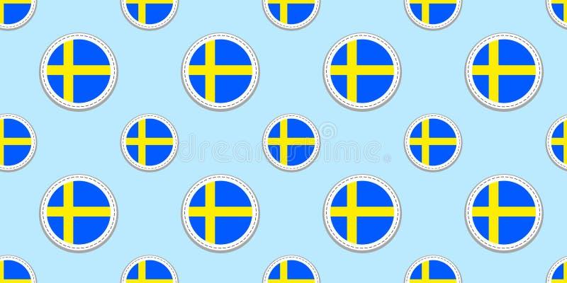 Modèle sans couture de drapeau de rond de la Suède Fond suédois Icônes de cercle de vecteur Symboles géométriques Donnez une cons illustration de vecteur