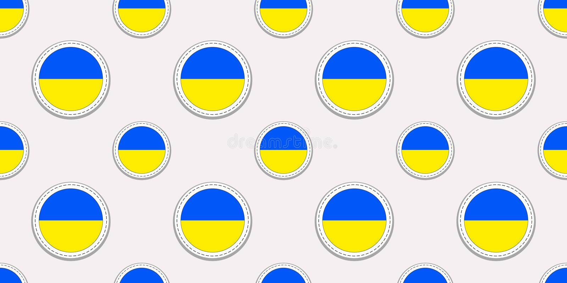 Modèle sans couture de drapeau ukrainien Fond de l'Ukraine Autocollants ronds de drapeau de vecteur Symboles de cercle Bon choix  illustration stock