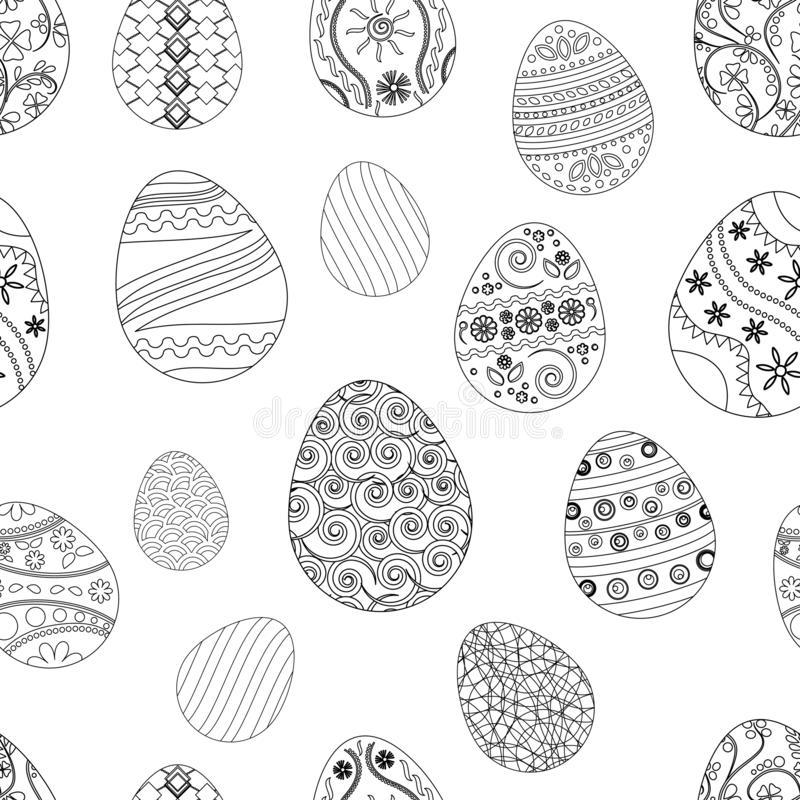 Modèle sans couture de fête avec des oeufs de pâques Illustration de vecteur illustration stock