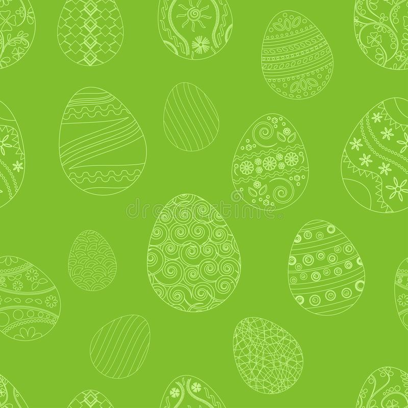 Modèle sans couture de fête avec des oeufs de pâques sur le fond vert Illustration de vecteur illustration de vecteur