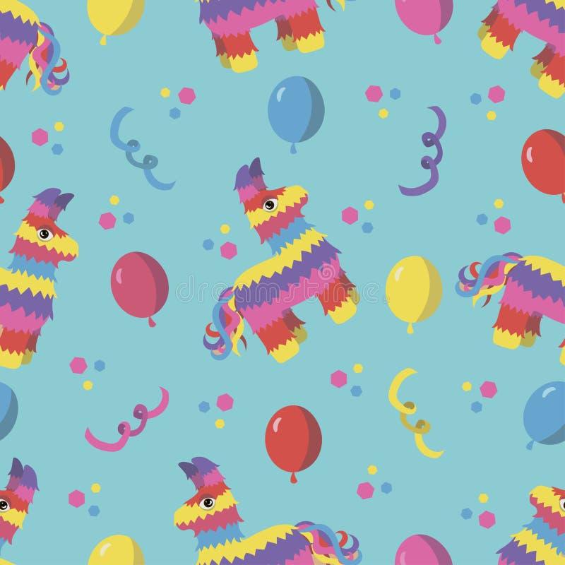 Modèle sans couture de fête d'anniversaire avec le pinata coloré, confettis de ² du 'Ð d'aÑ de ballons illustration libre de droits