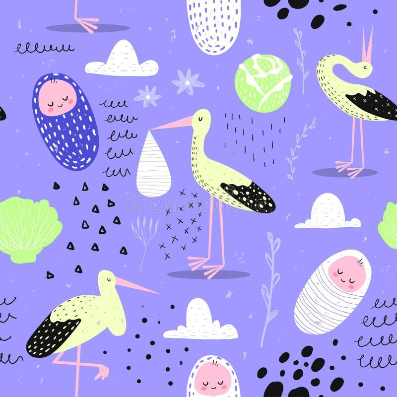 Modèle sans couture de fête de naissance avec la cigogne mignonne et l'enfant nouveau-né Fond de bébé pour la décoration, papier  illustration de vecteur