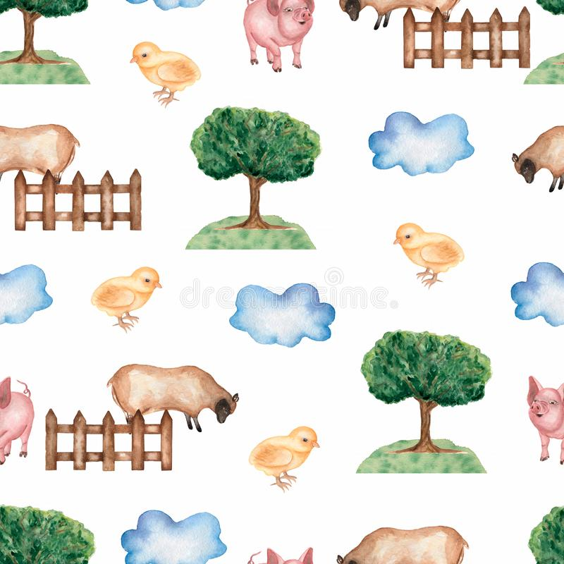 Mod?le sans couture de ferme d'aquarelle Objets tir?s par la main : moutons, barri?re, herbe, arbre, poulet, porc, nuage Fond tir illustration libre de droits