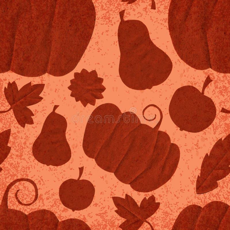 Modèle sans couture de Fest d'automne de récolte Éléments de coupe de papier de main Apple, poires, potiron laisse le ruban avec  illustration libre de droits