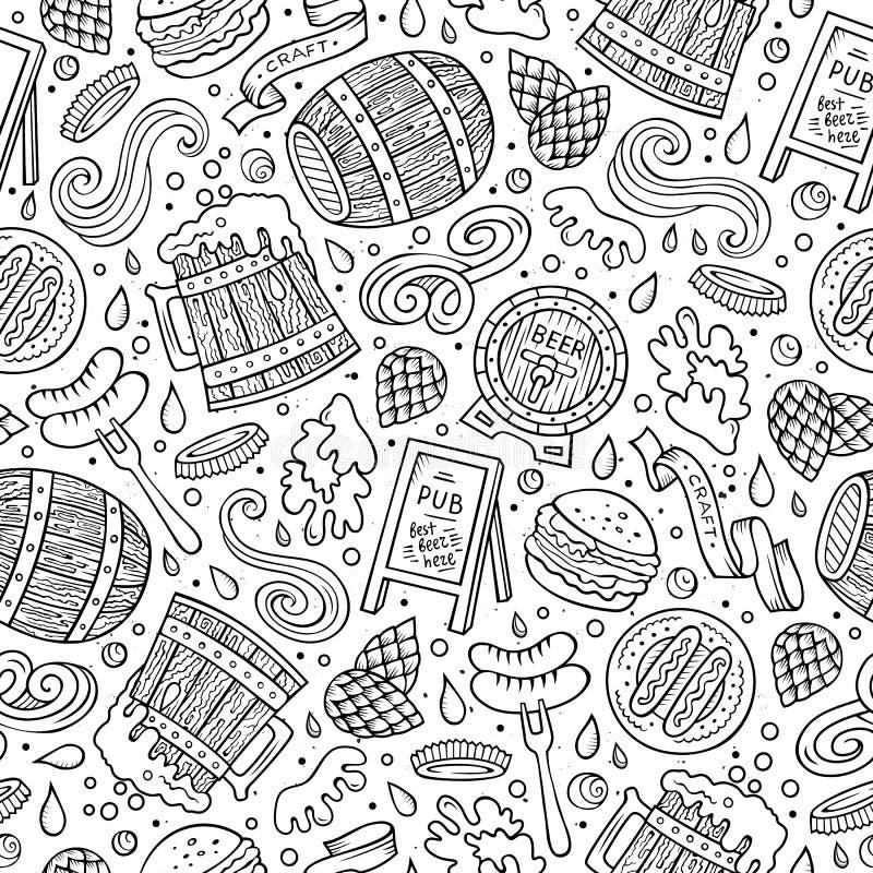 Modèle sans couture de fest tiré par la main mignon de bière de bande dessinée illustration de vecteur