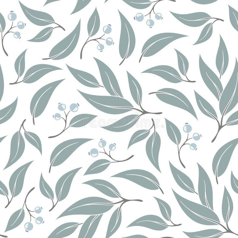 Modèle sans couture de feuille d'eucalyptus illustration de vecteur