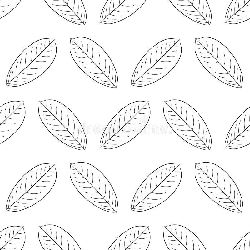 Modèle sans couture de feuille d'usine de la brosse de noir de découpe illustration libre de droits