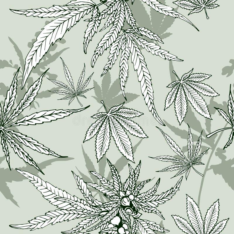 Modèle sans couture de feuille de cannabis illustration libre de droits