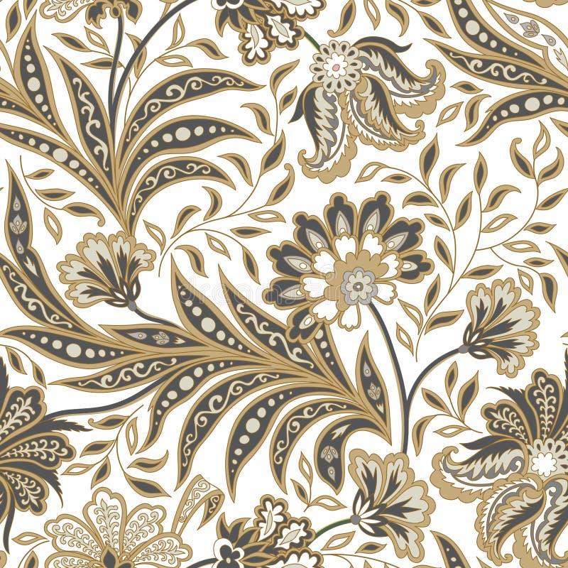 Modèle sans couture de feuille florale et de fleur Branche abstraite avec le le illustration stock