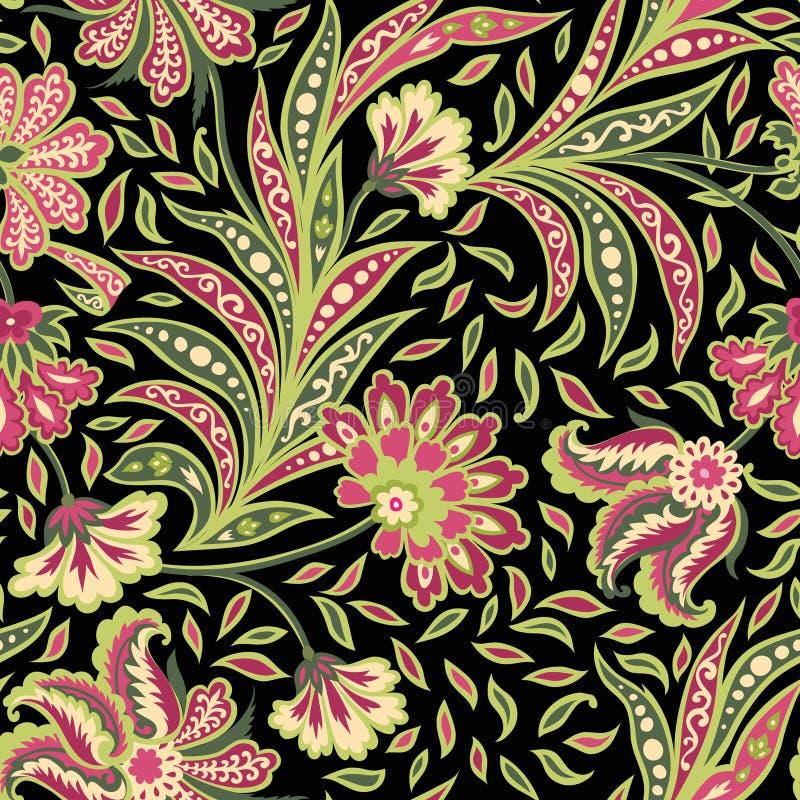 Modèle sans couture de feuille florale et de fleur Fond floral oriental abstrait illustration de vecteur