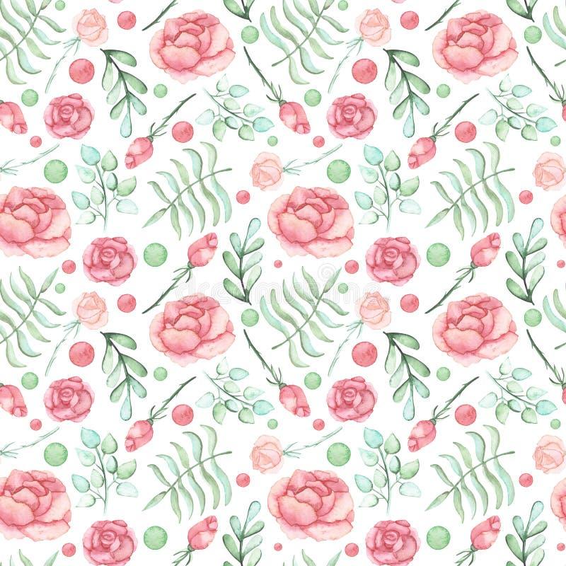 Modèle sans couture de feuilles d'aquarelle et de roses roses illustration libre de droits